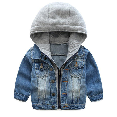 Blue Grey Button Downs Denim Jean Kid Child Baby Toddler New Born Infant Snow Coat - Cozzoo