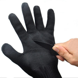 1 Pair Black Working Safety Gloves Cut-Resistant Protective Stainless Steel Wire Butcher Anti-Cutting Gloves - Cozzoo