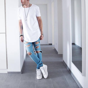 Polyester Plain Colors Men Longline Shirts Extra Long Oversized Tall Tees - Cozzoo