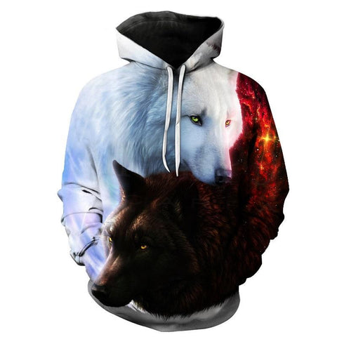 Wolves Yin & Yang Black And White Wolf Hoodie Sweatshirt All Over Print - Cozzoo
