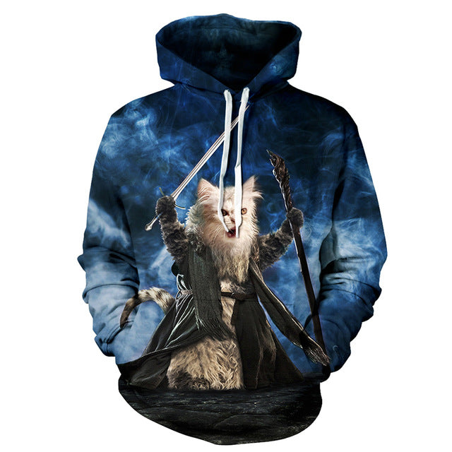 Powerful Cat Holding Sword - Hoodie Sweater - All Over Print - Cozzoo