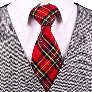 Checked Plaid Scottish Tartan Red Gray Grey Green Yellow Blue Neckties - Cozzoo