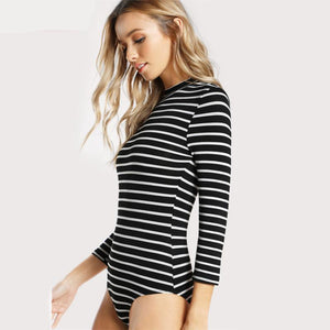 Black & White Stripes Women Bodysuit  Mock Neck Slim Three Quarter Length Sleeve - Cozzoo