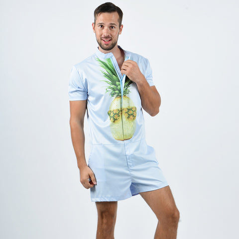Pineapple Sunglasses Men's Rompers Short Sleeve Jumpsuit All Over Print - Cozzoo