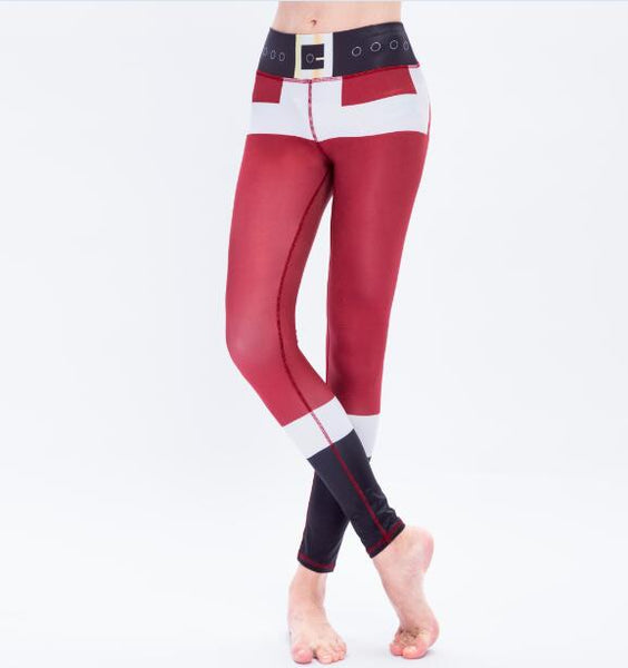 Christmas Leggings Tree Snow Printing Slim Low Waist Workout Women Fitness - Cozzoo