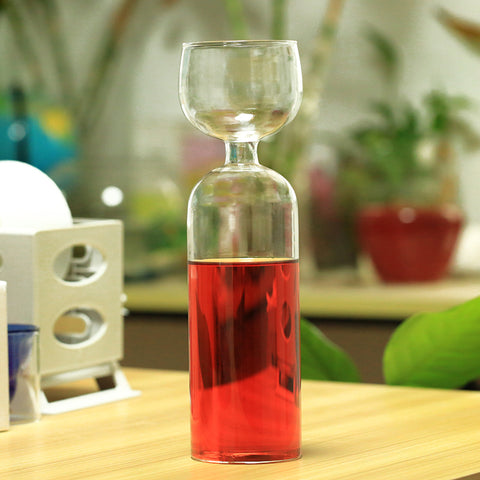 Wine Bottle With Glass Cup On Top Cute Drinking Wine Glass Bottle Champagne - Cozzoo