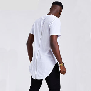 Back Zipper Polyester & Cotton Men Longline Shirts Extra Long Oversized Tall Tees - Cozzoo