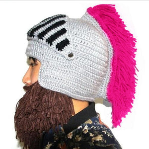 Roman Knight Warrior Cosplay Bearded Beanie Knitted Hat - Cozzoo