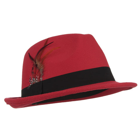 Fedora Trilby Hat - Wool Feather - Black, Red, Navy Blue, fuchsia - Cozzoo
