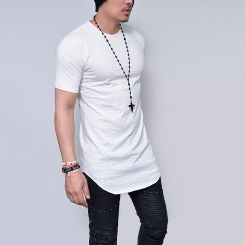 Cool Solid Colors Men Longline Shirts Extra Long Oversized Tall Tees - Cozzoo