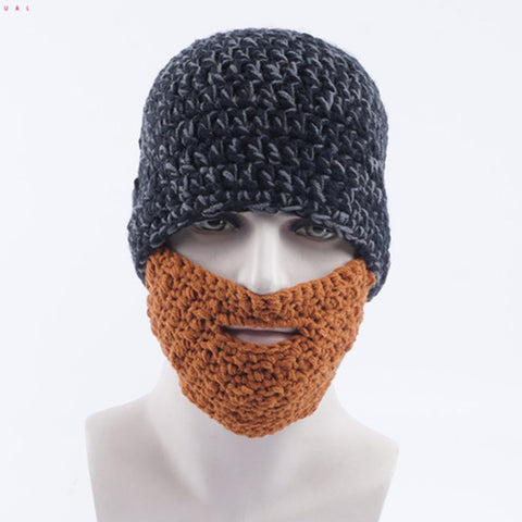 Funny Face Mask Bearded Beanie Knitted Hat - Cozzoo