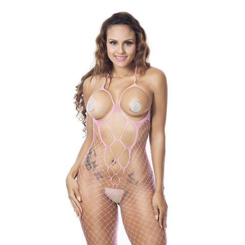 Sexy Women Fishnet Sheer Open Crotch Body Stocking Bodysuit Lingerie - Cozzoo