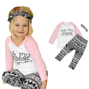 Toddler Baby Kids Girls Clothes T-shirt Pants Leggings Headband 3PCS Outfits Set - Cozzoo