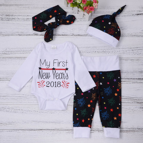 Newborn Baby Girls Boys Christmas Outfits Clothes Romper+Pants+Hat Headband Set - Cozzoo
