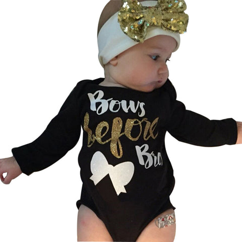 2Pcs Newborn Baby Girl Letter Long Sleeve Romper+Headband Outfits Clothes - Cozzoo