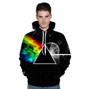 Refraction Triangle Space Rainbow Moon All Print Hoodie Sweater