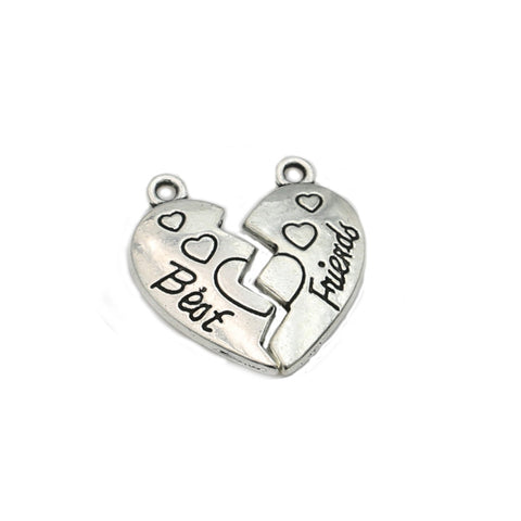 Best Friend Jewelry - BFF - Friendship - Silver Charms Bracelet and Necklace Pendants - Cozzoo