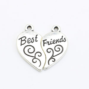 Best Friend Jewelry - BFF - Friendship - Heart Charms Bracelet and Necklace Pendants - Cozzoo