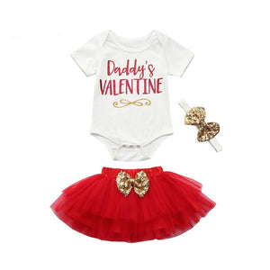 Daddy's Valentine Infant Baby Onesie Bodysuit And Tutu Skirt - Cozzoo