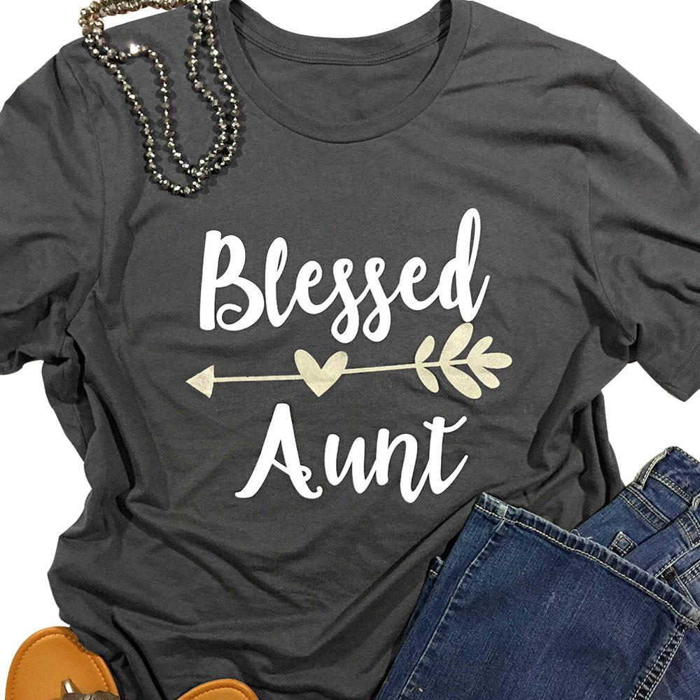 Blessed Aunt T-shirt - Auntie Heart Arrow Tee - Cozzoo