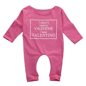 I Don't Need A Valentine I Need Valentino Infant Baby Romper Jumpsuit - Cozzoo