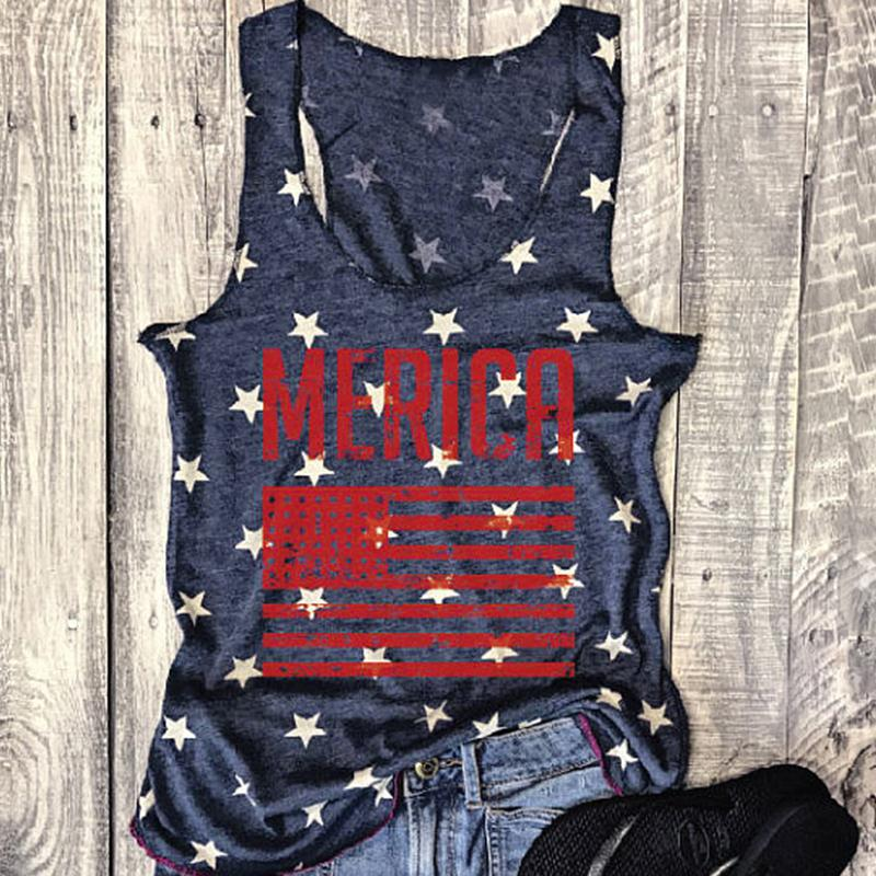 'Merica Stars & Stripes - Women's Plus Size Casual Sleeveless Tank Top - Cozzoo