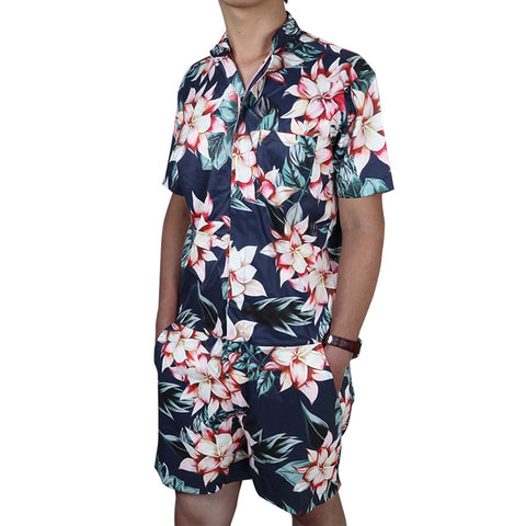 Floral Print Men's Rompers Short Sleeve All Over Print - Cozzoo