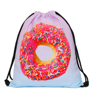 Sprinkles Donut Drawstring Bags Cinch String Backpack Funny Funky Cute Novelty - Cozzoo