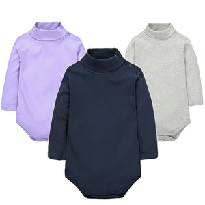 Navy Blue, Light Gray, Lavender, Red Turtle Neck Long Sleeve Collection New Born Infant Baby Onesie Bodysuit - Cozzoo
