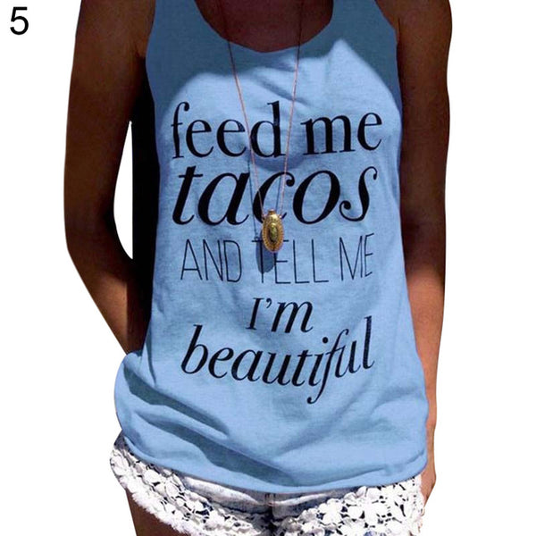 Feed Me Tacos And Tell Me I'm Beautiful Women Tank Top - Cozzoo