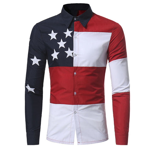 Button Down Long Sleeve American Flag Men's Shirt - Cozzoo