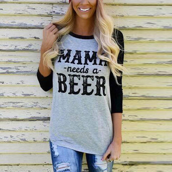 Mama Needs A Beer - Women's Drinking T-shirt - Cozzoo