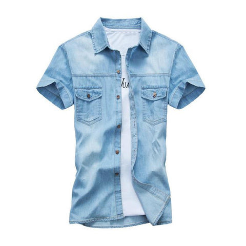 Sky Blue Button Downs Denim Jeans Pocket Polo Shirt - Cozzoo