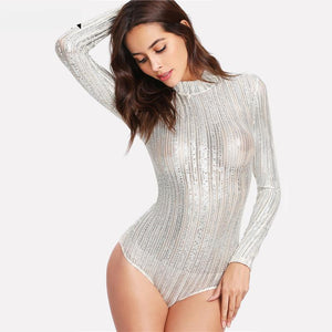 Metallic See Through Women Bodysuit Long Sleeve Stand Collar Silver Mid Waist - Cozzoo