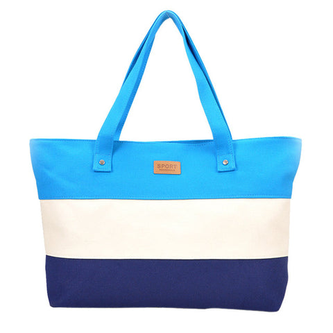 Colored Stripes Handbag/Shoulder Shoulder Beach Tote Purse Canvas Handbags Totes Bags - Cozzoo