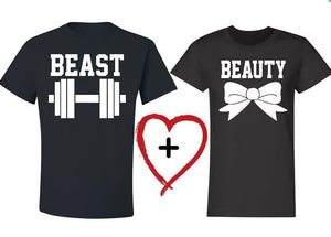 Beauty And The Beast - Couple Fitness T-shirt - Cozzoo
