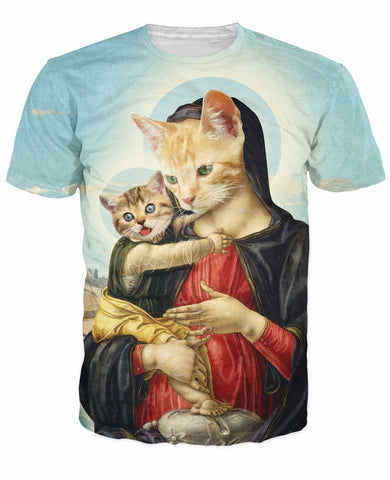 Holy Mother and Kitten All Over Print Funny T-Shirts - Cozzoo