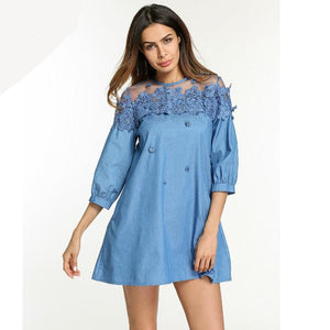 Embroidery Floral Lace Blue Denim Jean Dress - Cozzoo