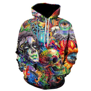 Abstract Artistic Paint Woman Skull Flower Print All-Over-Print Hoodie Sweater - Cozzoo
