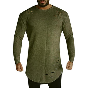 Ripped Hole Long Sleeves Men Longline Shirts Extra Long Oversized Tall Tees - Cozzoo