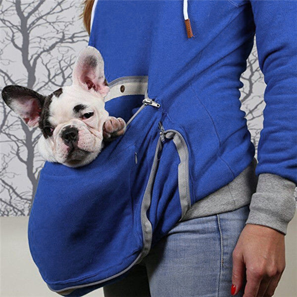 Blue Unisex Kangaroo Pet Pouch Sweater Hoodie Dog Cat Holder - Cozzoo