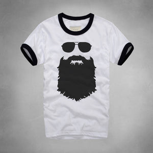 Man Beard T-Shirt - Men's Short Sleeve Crew Neck Novelty Tops - Cozzoo