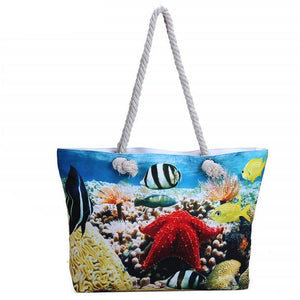 Ocean Starfish And Fish Handbag/Shoulder Shoulder Beach Tote Purse Canvas Handbags Totes Bags - Cozzoo