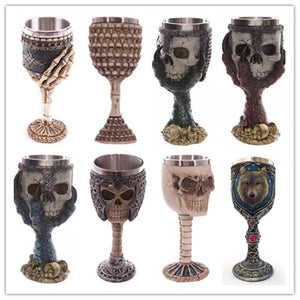 Funky Cool Skull Head Skeleton Hand Stainless Steel Gothic Goblet Drinking Glass Wine Whiskey - Cozzoo
