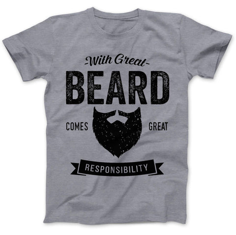 With Great Beard Comes Great T-Shirts - Ladies Crew Neck Novelty Top Tee - Cozzoo