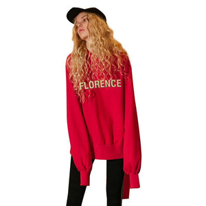 Florence Red Loose Hoodies - Cozzoo