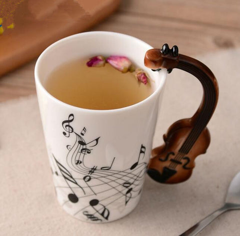 Guitar Mug - Music Violin Style Guitar Ceramic Mug Coffee Tea Mug - Cozzoo