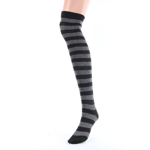 Black, Blue Red, Yellow, White Stripes Over The Knee Thigh Socks - Women High Socks - Cozzoo