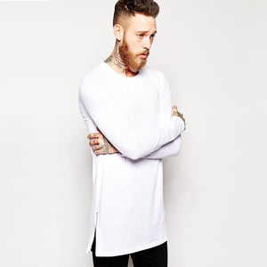 Side Zipper O-Neck Cotton Men Longline Shirts Extra Long Oversized Tall Tees - Cozzoo