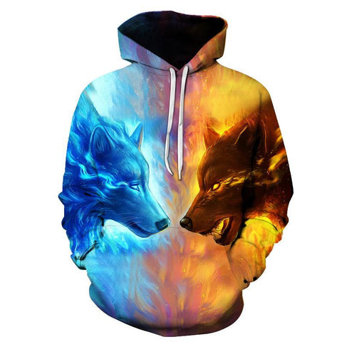 Ice Fire Wolf All Over Print Hoodies - Men's Novelty Pullover Hoodie - Cozzoo